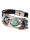 cheap Men's Polos-Men's Turquoise Leather Bracelet - Leather Personalized, Vintage Bracelet Black / Brown For Casual Stage