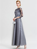 cheap Mother of the Bride Dresses-A-Line Princess Illusion Neckline Floor Length Lace Over Tulle Floral Lace Mother of the Bride Dress with Appliques by LAN TING BRIDE®