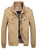 cheap Men's Tees & Tank Tops-Men's Daily Spring / Fall Plus Size Regular Jacket, Solid Colored Stand Long Sleeve Cotton / Acrylic Black / Army Green / Khaki XXL / XXXL / 4XL