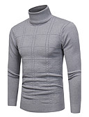 cheap Men's Sweaters & Cardigans-Men's Plus Size Weekend Vintage / Casual Long Sleeve Slim Pullover - Plaid Turtleneck