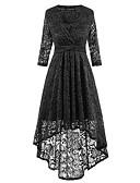 cheap Women's Dresses-Women's Sheath Swing Dress - Solid Colored Black V Neck