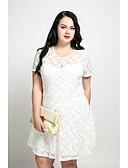 رخيصةأون فساتين نسائية-فستان نسائي قياس كبير A line عتيق دانتيل - قطن طول الركبة لون سادة