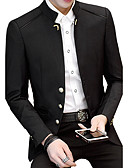 cheap Men's Shirts-Men's Plus Size Cotton Slim Blazer - Solid Colored Stand