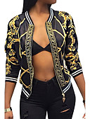 cheap Women's Blazers & Jackets-Women's Vintage Street chic Jacket-Color Block,Print V Neck