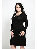 preiswerte Damen Kleider-Damen Übergrössen Niedlich Street Schick Hülle Kleid Solide Knielang