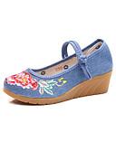 baratos Vestidos de Mulher-Mulheres Sapatos Tecido Primavera / Outono Conforto / Inovador Rasos Dedo Apontado Apliques / Presilha Preto / Vermelho / Azul