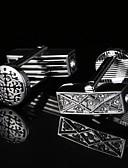 baratos Quartz-Forma Geométrica Prata Botões de Punho Estampado Homens Jóias de fantasia Para