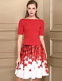 preiswerte Damen zweiteilige Anzüge-Damen T-shirt - Blumen Rock