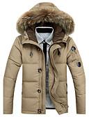 tanie Męska odzież puchowa i parki-Męskie Biały pierz kaczy Wyjściowe Odzież puchowa Jendolity kolor Bawełna