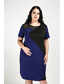 baratos Vestidos Femininos-Mulheres Tamanhos Grandes Moda de Rua Algodão Reto Vestido Estampa Colorida Altura dos Joelhos