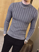 cheap Men's Sweaters & Cardigans-Men's Daily Basic Stripe Solid Colored Long Sleeve Slim Regular Pullover, Crew Neck Fall / Winter Gray / Yellow / Army Green L / XL / XXL