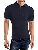 baratos Pólos Masculinas-Homens Polo Sólido Algodão Colarinho de Camisa / Manga Curta