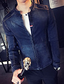 cheap Men's Shirts-Men's Cotton / Denim Jacket - Solid Colored Stand / Long Sleeve