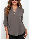 abordables Camisetas para Mujer-Mujer Sofisticado Trabajo Blusa, Escote en Pico Un Color Gris M / Primavera / Otoño