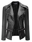 cheap Women's Leather & Faux Leather Jackets-Women's Leather Jacket - Solid Colored V Neck