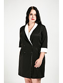 cheap Women's Blazers & Jackets-Cute Ann Women's Street chic Long Plus Size Trench Coat - Color Block Shirt Collar