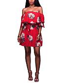 baratos Vestidos de Mulher-Mulheres Bainha Vestido Floral Decote Canoa Cintura Alta