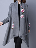 cheap Women's Trench Coats-Women's Going out Street chic Cotton Trench Coat - Solid Colored / Floral Print Stand / Fall / Winter / Embroidery