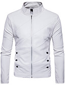 cheap Men's Jackets & Coats-Men's Street chic Jacket-Solid Colored Stand