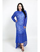 cheap Women's Dresses-Women's Plus Size Cotton Sheath Dress - Solid Colored Lace Maxi
