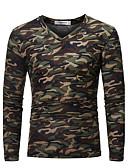 お買い得  メンズTシャツ&タンクトップ-男性用 プラスサイズ Tシャツ 軍隊 Vネック スリム カモフラージュ コットン ブラウン XL / 長袖 / 秋