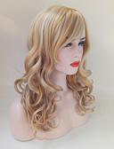 tanie Bluzka-Peruki syntetyczne Damskie Body wave Blond Z grzywką Włosie synetyczne Część boczna Blond Peruka Długie Bez czepka Złocisty blond