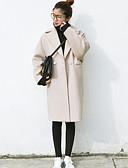 זול מעילים ובלשיות לנשים-בגדי ריקוד נשים בז' אפור חום בהיר M L XL מעיל ארוך אחיד צווארון חולצה
