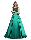 cheap Prom Dresses-A-Line Boat Neck Sweep / Brush Train Mikado Sparkle & Shine / Open Back / See Through Formal Evening Dress with Beading / Sequin by LAN TING Express