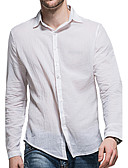 cheap Men's Sweaters & Cardigans-Men's Cotton Shirt - Solid Colored Basic Classic Collar / Long Sleeve