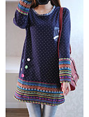 זול שמלות נשים-מעל הברך דפוס, מנוקד - שמלה ישרה כותנה מידות גדולות בגדי ריקוד נשים / משוחרר