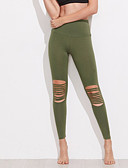 preiswerte Damen Hosen-Damen Sexy Genähte Spitzen / Sportlich Legging - Solide, Ausgeschnitten Hohe Taillenlinie / Skinny