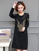 hesapli Kadın Elbiseleri-Kadın's Büyük Bedenler Dışarı Çıkma Sokak Şıklığı Salaş Kombinezon Elbise Desen Diz üstü