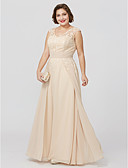 cheap Mother of the Bride Dresses-Plus Size A-Line Princess V Neck Floor Length Chiffon Sheer Lace Mother of the Bride Dress with Appliques Sash / Ribbon by LAN TING BRIDE®