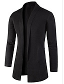 cheap Men's Sweaters & Cardigans-Men's Long Sleeve Long Cardigan - Solid Colored Shirt Collar