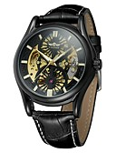 cheap Mechanical Watches-WINNER Men's Wrist Watch Water Resistant / Water Proof / Hollow Engraving / Cool Genuine Leather Band Vintage / Casual / Fashion Black / Automatic self-winding