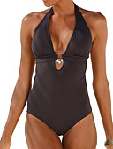 abordables Biquinis y Bañadores para Mujer-Mujer Boho Halter Negro Rojo Azul Marino Una Pieza Bañadores - Un Color L XL XXL
