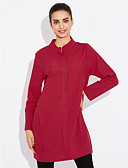 cheap Women's Dresses-Women's Daily Weekend Casual A Line Knee-length Dress, Solid Stand Long Sleeves Fall
