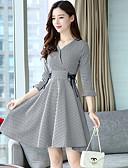 baratos Camisas Femininas-Mulheres Evasê Bainha Vestido Houndstooth Quadriculada Decote V Cintura Alta