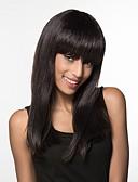 tanie Kwarcowy-Ludzkie Włosy Capless Peruki Włosy naturalne Prosto Długo Tkany maszynowo Peruka Damskie