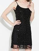 זול שמלות NYE-כתפיה מעל הברך אחיד - שמלה נדן מועדונים בגדי ריקוד נשים