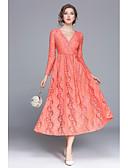 preiswerte Damen Kleider-Damen Street Schick Baumwolle A-Linie / Swing Kleid - Spitze, Genähte Spitzen / Stickerei / Lolita Midi V-Ausschnitt