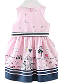 cheap Girls' Dresses-Girl's Daily Going out Holiday Dress, Cotton Spring Summer Sleeveless Cartoon Blushing Pink