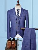 זול בלייזרים וחליפות לגברים-משובץ רזה עסקים עסקים פורמלי חליפות-בגדי ריקוד גברים / שרוול ארוך / עבודה