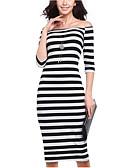 رخيصةأون فساتين للنساء-باتو مخطط مثير, مخطط - فستان ضيق للمرأة