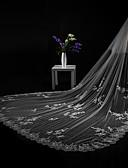 baratos Véus de Noiva-Duas Camadas Corte da borda Borda com aplicação de Renda Modern Véus de Noiva Véu Catedral Peça para Cabeça Com Apliques Renda Tule