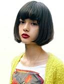 baratos Leggings para Mulheres-Perucas de cabelo capless do cabelo humano Cabelo Humano Liso Riscas Naturais Médio Fabrico à Máquina Peruca Mulheres