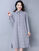 cheap Women's Dresses-Women's Daily / Going out Cotton / Linen Loose / Shirt Dress - Houndstooth Shirt Collar / Spring / Fall