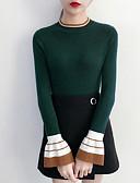 olcso Női pulóverek-Női Alkalmi Egyszínű Hosszú ujj Szokványos Pulóver, Kerek Pamut Lóhere M / L / XL / flare Sleeve