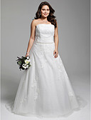 cheap Wedding Dresses-A-Line Strapless Court Train Tulle Over Lace Made-To-Measure Wedding Dresses with Beading / Appliques / Sash / Ribbon by LAN TING BRIDE®