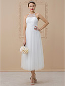 cheap Wedding Dresses-A-Line / Princess Halter Neck Tea Length Lace Over Tulle Made-To-Measure Wedding Dresses with Beading / Crystals by LAN TING BRIDE®